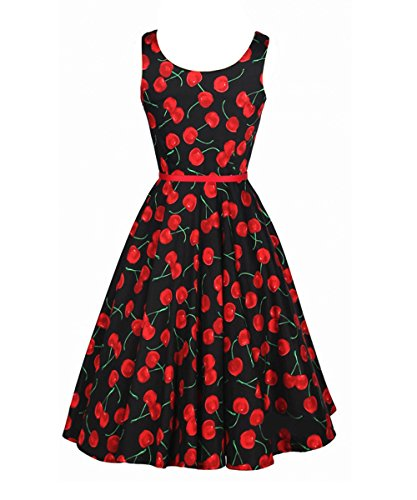 LUOUSE Damen Rockabilly Kleid Retro 50er Kleid Festliche Kleider Kirschmuster V001-Schwarz
