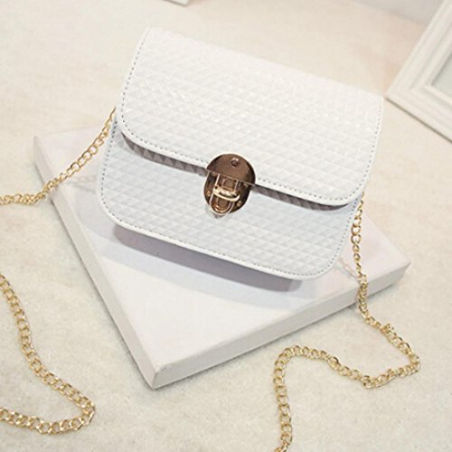 Xjp Women's Retro Solid Shoulder Bag PU Leather Messenger Bag Weiß