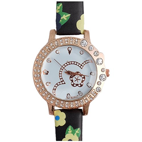 Super Drool ST2490_WT_BLACKBLUE Fancy Floral Analog Watch For Girls