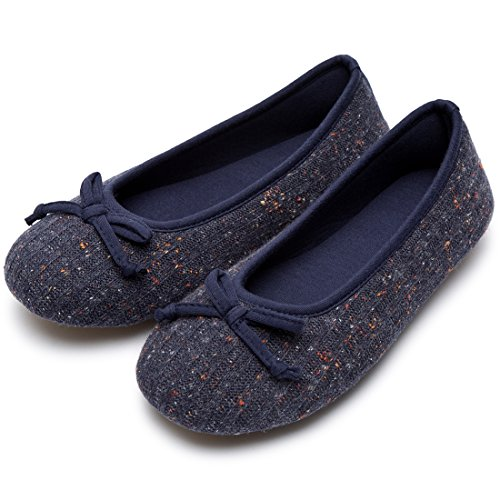 HomeTop Ladies' Comfy Colored Knit Memory Foam Ballerina House Slippers Shoes With Anti-Slip Rubber Sole (5-6 UK/38-39 EU, Navy Blue)