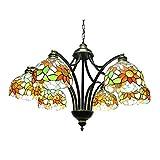 Tiffany-Art-Leuchter-Weinlese-Deckenleuchte-Eisenkunst Hängendes Licht 29 Zoll 6 Lichter