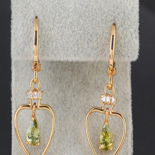 Yazilind Collier Charm motif cœur plaqué or 18K avec Pendentif Goutte Oxyde de Zirconium–Boucles d'Oreilles Pendantes Femme–pour Femme vert