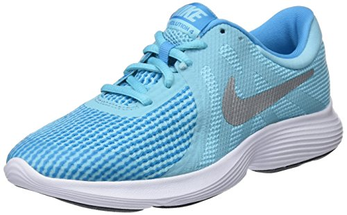 Nike Revolution 4(GS) Laufschuhe, Mädchen, Blau-(Bleached Aqua/Metallic Silver)