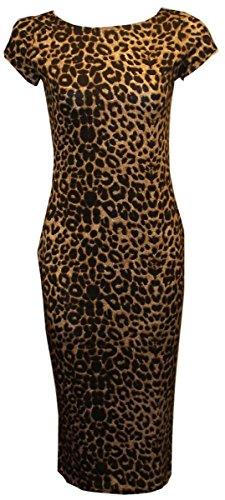 donne janisramone Bodycon sexy stampato il vestito midi manicotto della protezione Leopardo