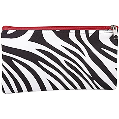 11 Zebra Print Zip Cosmetic Travel School Gym Makeup Brush Bag Pouch (Red Trim) by Gen SH - Tribal Pouch