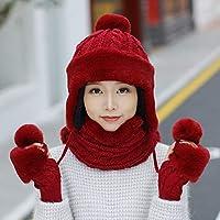 Hat Sombrero Sombrero De Máscara De Invierno Mujer, Babero De Tres Piezas Cálida Gorra De Suéter, Montar A Prueba De Viento Tapa De Punto De Color Sólido,Rojo,Un tamaño