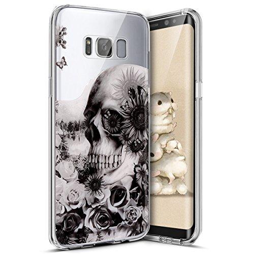 kompatibel mit Galaxy S8 Hülle,Bunte Kunst Muster Transparent TPU Silikon Handy Hülle Case Tasche Crystal Case Durchsichtig Schutzhülle für Galaxy S8,Schwarz Blumen Schädel Totenkopf