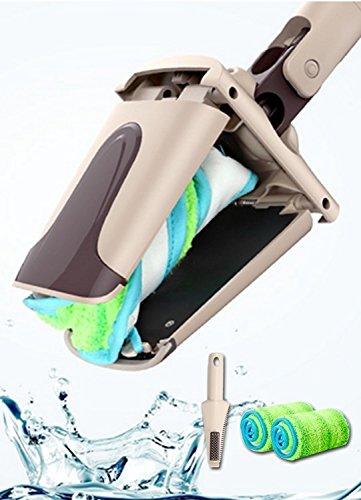 Swivel Mop (UPP® Wischmop Easy Twist inkl. 2 patentierten Mikrofaser Mop-Pads und cleveres Mop-Auswring-System für berührungsfreies Arbeiten)