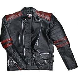 German Wear Oldschool Retro Chaqueta Moto de Piel, Negro/Rojo, 50