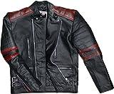 German Wear Leder Motorradjacke Oldschool Retro, Schwarz/Rot, 54