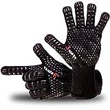 Designer Edel Grillhandschuhe, Ofenhandschuhe, 30 cm lang, mit EN407 Zertifikat, Premium Qualität, bis 500C, 1 Paar Fingerhandschuhe, verwendbar als Topfhandschuhe, Schutzhandschuhe.