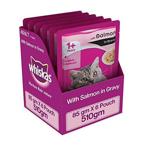Whiskas Salmon in Gravy, Wet Gravy Food for Adult Cats