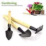 Small Gardening Tool Kit 3 Pieces(Trowel Cultivator Transplanter) Home Garden Lawn Potting Plant Care Equipment Rust Resistant Soft Touch Ergonomic Wooden Handle Design Perfect Gift for Garden Lovers