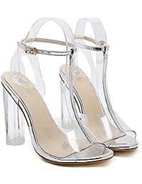 ZWME Mujeres Peep Toe T-Strap Transparente Heels Ladies Sandalias De Tacón Alto Sandalias De La Correa Del Tobillo