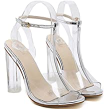 107ae5566 ZWME Mujeres Peep Toe T-Strap Transparente Heels Ladies Sandalias De Tacón  Alto Sandalias De