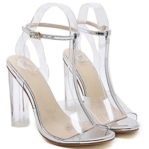 Damen Peep Toe T-Strap Transparente Heels Damen High Heel Ankle Strap Sandalen Schuhe,Silver-EU36/230
