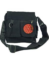 Guru-Shop Schultertasche, Hippie Tasche - Schwarz, Herren/Damen, Baumwolle, 25x25x7 cm, Alternative Umhängetasche, Handtasche aus Stoff