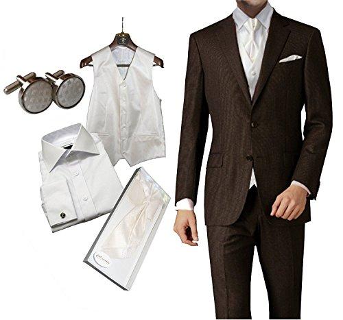 8 tlg Set Hochzeitsanzug Schurwolle Mix braun elfenbein ivory Weste Plastron Hemd etc slim fit, Braun, 44
