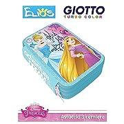 Grazioso borsello porta colori a 3 zip che raffigura i personaggi delle Principesse in 3D del mondo Disney. Il borsello è composto da 3 scomparti ogniuno di essi chiuso con un cerniera, nel primo troverete 1 matita, 2 penne, 1 gomma, 1 temper...
