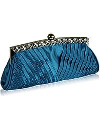 Pochette Satin-Monture cristal soirée (25,42 x 12,70 cm) avec housse PreciousBags - Bleu - Bleu roi,
