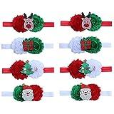 Toyvian 8 stücke Baby Mädchen Kleinkinder Weihnachten Stirnbänder mit Pailletten Blume Santa Rentier Baum Weihnachten Säugling Haarbänder Zubehör
