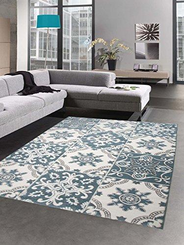 Carpetia tappeto moderno tappeto salotto di casa ottica per piastrelle motivo indaco blu turchese größe 160x230 cm