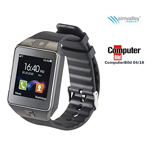 "simvalley MOBILE BT Uhr: 1,5""-Handy-Uhr & Smartwatch PW-430.mp mit Bluetooth 3.0 und Fotokamera (Uhrenhandy)"