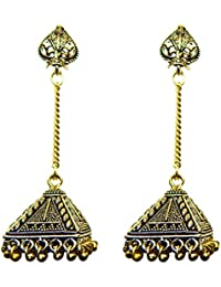 Fig N Honey German Silver Jhumki With Long Chain And Designed - Medium Size - 1 Pair