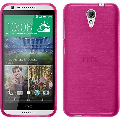 PhoneNatic Case für HTC Desire 620 Hülle Silikon pink brushed Cover Desire 620 Tasche + 2 Schutzfolien