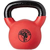 Gorilla Sports Kettlebell Red Rubber,  in Ghisa, Rivestimento in Neoprene, Colore Rosso. Pezzo 12 kg