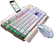SOONGO G700 Keyboard Wired USB Gaming Mouse Flexible Polychromatic LED Lights Computer Mechanical Feel Backlit