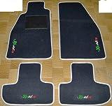 ALFA ROMEO SPIDER 916ab '95bis' 06Teppiche für Auto schwarz mit Rand grau Perle, Komplettset-Gummimatten passgenau mit Stickerei dreifarbig Bianco