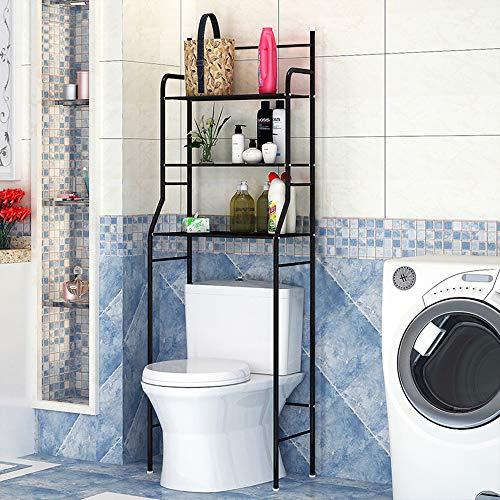 3-Tiers lackierter Stahl Toilettenregal WC-Regal Badezimmer Regal Aufbewahrungsregal für Badezimmer, 165 * 55 * 26cm Schwarz (Schwarz) -