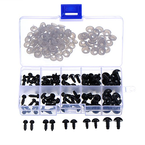 100 Stück 6 bis 12 mm Kunststoff Sicherheitaugen Schwarze Solide Augen mit Unterlegscheiben für Teddy, Bär, Puppe, Puppe und Handwerk (Bär 8 Teddy)