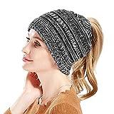 Ksnrang Hiver Queue de Cheval Tricoter Bonnet Chapeau pour Femmes,Chaud Bonnet Queue Haute en Tricot torsadé élastique Bonnet (Gris blanc-02)