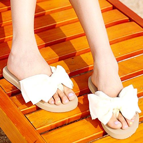 ZYUSHIZ Hausschuhe Frau Sommer Bow Tie ziehen t Koreanische Version Sandalen Weiß3.Zentimeter