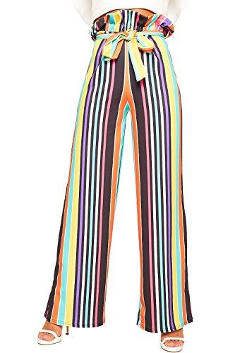 WearAll Damen Regenbogen Multi Gestreift Papiertüte Abgefackelt Palazzo Hose Damen Hose Gürtel - Multi - 36 (Multi Farbe Gestreiften Pant)