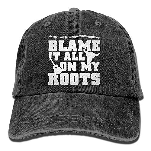 Kotdeqay Unisex Baseball Cap Cotton Denim Hat Blame It All On My Roots Adjustable Snapback Sunbonnet