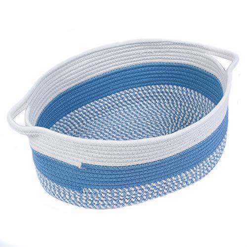 Furnily Baumwollseil-Ablagekorb Große oval gewebte Babykörbe für Spielzeug Faltbarer Baumwollkorb Handgemachter Wäschekorb mit Griffen Aus weiß und blau
