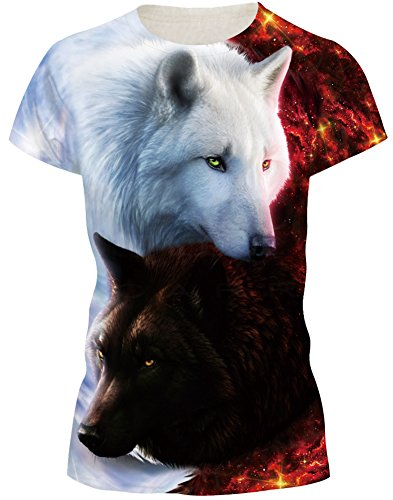 EUDOLAH Damen Sommer Shirt Bluse 3D Print Kurzarm Design Tops Hemd T-Shirt (Größe 2XL, Doppelte Wölfe)