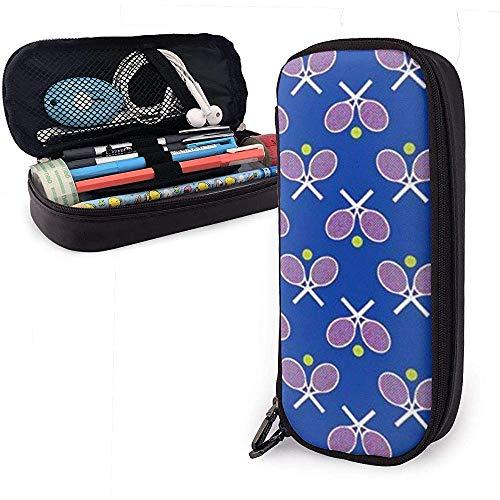 Tennisschläger blau Leder Federmäppchen Tasche, große Kapazität Briefpapier Box