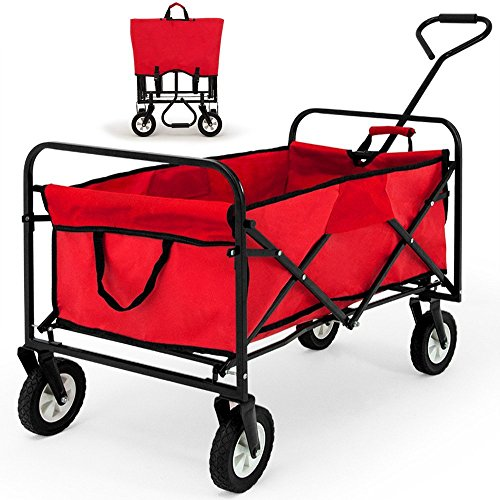 COWNIC Outdoor Foldable Trolley Garden Cart Handcart Wagon Shopping Trolley (Red)