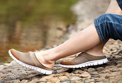 GLTER Herren Clogs Sommer und Herbst Breathable Sportschuhe Laufschuhe Mesh Slip On Casual Schuhe Flache Schuhe Maultiere Brown