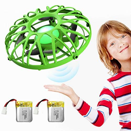 EACHINE E111 Mini Drohne Kinder UFO Fliegendes Spielzeug RC Quadcopter mit IR-Sensoren Handgesteuerte Drohne LED-Leuchte(Grün, 2 Batterien)