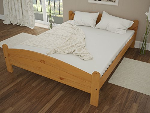 "Solid Pine Wooden Bed Frame 4ft6"" Double Size In Alder Colour & Solid Thick Slats"