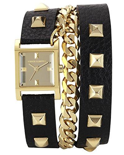 Vince Camuto VC/5088GMBK - Reloj de cuarzo para mujer, con correa de cuero, color dorado