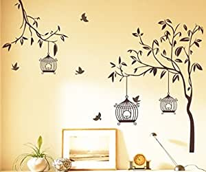 Decals Design StickersKart Wall Stickers Tree with Birds and Cages (Brown)