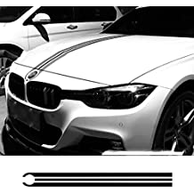 Pudincoco Car Hood Bonnet Racing Stripes Lines Calcomanías Cubierta del Motor Pegatinas para BMW E46 E36