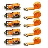 5X amarre correa Spanngurt con tensor de carraca trinquete correa tensora 6 m Camiones 2000/4000 kg naranja