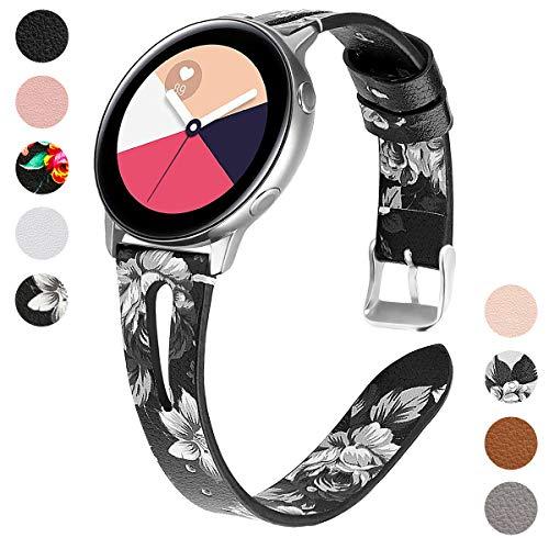 Yayuu 20mm Leder Armband Kompatibel Samsung Galaxy Watch 42mm Ersatz Uhrenarmband Echtes Lederband für Gear Sport/Gear S2 Classic/Garmin Vivoactive 3/Ticwatch 2/Huawei Watch 2 Sport Smart Watch